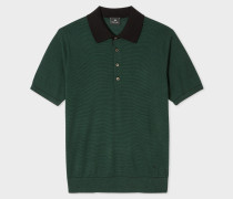 Green Striped Short-Sleeve Knitted Cotton Polo Shirt