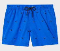 Blue Swim Shorts With 'Sunglasses' Embroidery