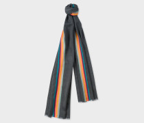 Slate Grey 'Artist Stripe' Band Herringbone Wool-Blend Scarf