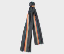 Slate Grey 'Artist Stripe' Band Herringbone Wool-Blend Scarf