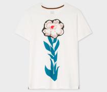White 'Floral Stem' Print Cotton T-Shirt