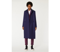 Navy Double-Breasted Wool-Cashmere Overcoat