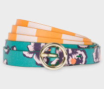 Orange 'Hawaiian Floral' Stripe Leather Waist Belt