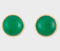 Rachel Entwistle + - Gold Stud Earrings With Green Onyx Stone