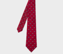 Red Embroidered Turtle Motif Silk Tie