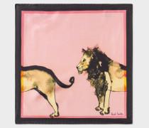 Pink 'Safari Animals' Print Silk Pocket Square