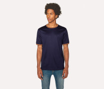 Navy Cotton T-Shirt With 'Artist Stripe' Trims