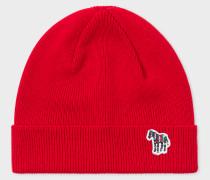 Red 'Zebra' Logo Ribbed Lambswool Beanie Hat