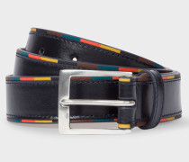 Navy 'Bright Stripe' Edge Leather Belt