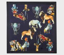 Dark Navy 'Safari Animals' Print Silk Pocket Square