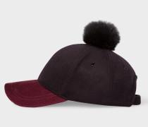 Black and Burgundy Wool Pom-Pom Cap