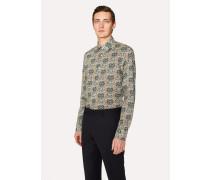Slim-Fit Green Paisley Print Shirt