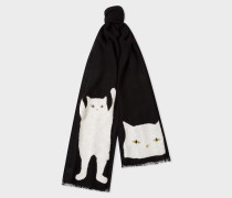 Black Embroidered 'Cat' Pattern Wool Scarf