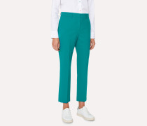 Slim-Fit Turquoise Wool-Blend Trousers