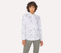 White Cotton 'Paul's Sketchbook' Print Shirt