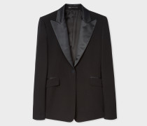 Slim-Fit Black One-Button Wool Tuxedo Blazer