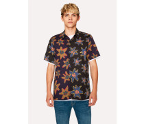 Classic-Fit Black 'Torn Floral' Print Short-Sleeve Shirt