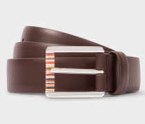 Chocolate Brown Leather Belt With Signature Stripe Roller
