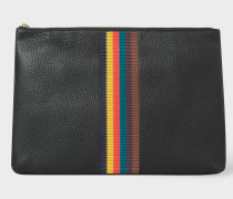 Black 'Bright Stripe' Leather Document Pouch