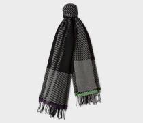 Grey And Black Asymmetrical Check Wool Scarf
