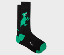 Black And Green 'Dino' Socks