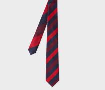 Red Diagonal Stripe Narrow Silk Tie With 'Ocean' Lining