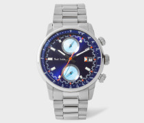 Indigo And Stainless Steel 'Block' Chronograph Watch