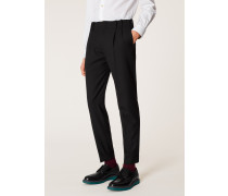 Tapered-Fit Black Double-Pleated Wool Trousers