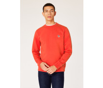 Orange Organic-Cotton Zebra Logo Sweatshirt