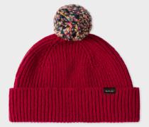 Red Pom-Pom Wool Beanie Hat