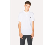 White Organic Cotton-Piqué Zebra Logo Polo Shirt