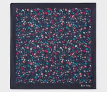 Dark Navy 'Music Floral' Print Silk Pocket Square