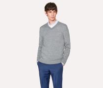 Light Grey Merino Wool V-Neck Sweater