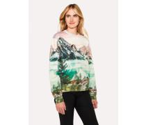 Pastel Pink 'Mountain Scene' Print Cotton Sweatshirt