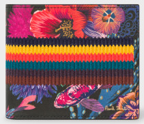 Black 'Ocean' Print Leather Billfold Wallet With 'Bright Stripe' Webbing