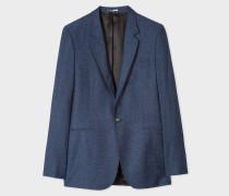 Navy Wool-Silk Blend Flecked Blazer