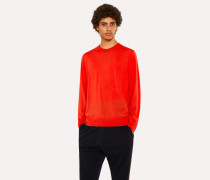 Poppy Red Crew-Neck Merino Wool Sweater