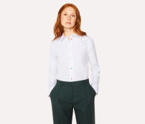Slim-Fit White Shirt With 'Daisy Polka' Buttons