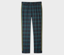 Slim-Fit Teal Check Wool Trousers With Khaki Stripe Detail