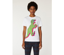 White Large 'Dino' Print Cotton T-Shirt