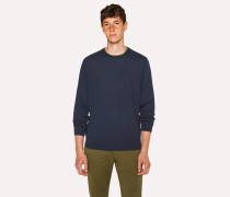 Dark Navy Wool Sweater With Contrast Collar