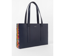 Navy 'Concertina Swirl' Small Leather Tote Bag
