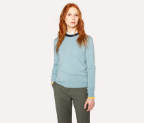 Light Blue Cashmere Sweater With Textured Collar