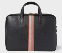 Black Signature Stripe Leather Business Folio