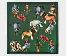 Green 'Safari Animals' Print Silk Pocket Square