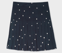 Navy Polka Dot Pleated Skirt
