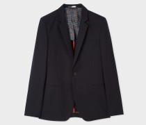 Navy Textured Cotton-Blend Blazer