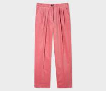 Dusty Pink Corduroy Triple-Pleat Trousers