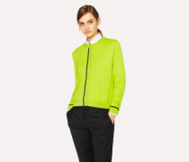 Lime Green Wool Cardigan with Dark Green Trims