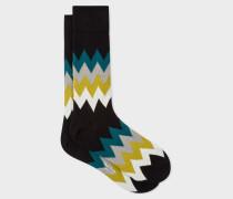 Black Zig-Zag Stripe Socks